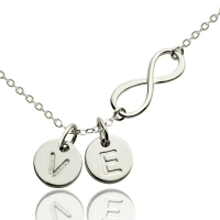 Personalized Infinity Disc Initials Necklace Silver