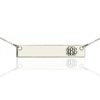 Personalized Monogram Bar Necklace Silver