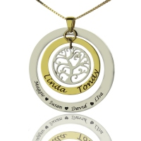 Engraved Family Tree Name Necklace Silver