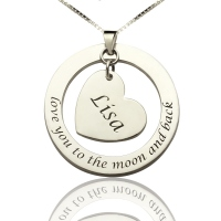 Personalized Heart Necklace Silver Memorial Necklace