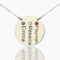 Engraved Round Disc Name Necklace with Birthstone Silver