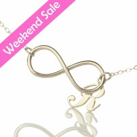 Infinity Necklaces with Initial Charm Necklace Silver
