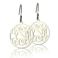 Silver Personalized Circle Monogram Earring