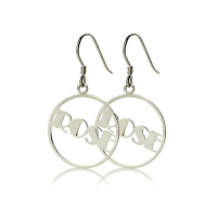 Silver Broadway Font Circle Name Earring