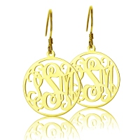 Gold Personalized Circle Monogram Earring