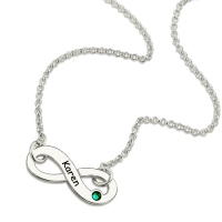 Infinity Birthstone Name Necklace