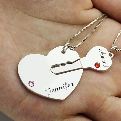 Key to My Heart Name Necklace With Birthstone