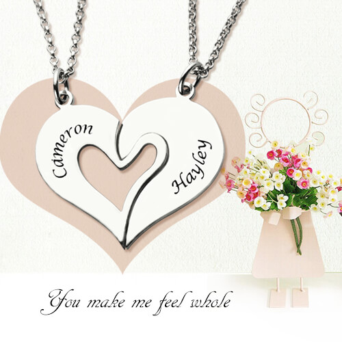 Matching Heart Couple Necklace, This is Very Unique!