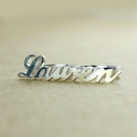 White Gold Name Ring