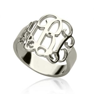 Personalized Sterling Silver Monogram Ring Hand-drawn Font-Sterling Silver 925-1.2cm(0.47
